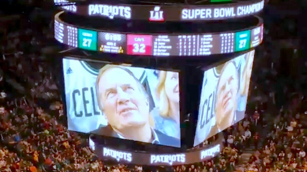 Belichick at celtics game