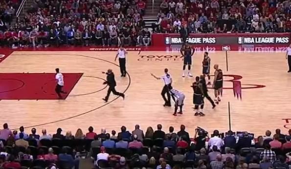 Rockets Fan On Court