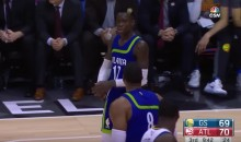 Dwight Howard and Dennis Schroder Argue While Steph Curry Hits a 3 Right in Front of Them (Video)
