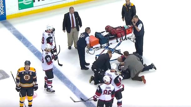 alexander burmistrov stretchers off ice scary hit