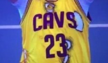 LeBron Fan Wears Burnt Jersey to Game (Video)