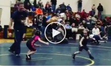 4-Year-Old Boy Runs Away From 5-Year-Old Female Opponent During Wrestling Match (Video)