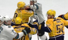Sharks Forward Drops Opponent With a One-Piece Combo, No Biscuit; Gets Ejected (VIDEO)