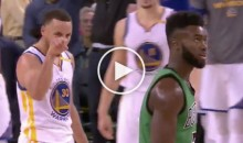 Steph Curry Smack Talks Jaylen Brown After Buzzer-Beating 3; Proceeds to Score 0 Points in The 4th QTR (Video)