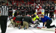 Hurricanes Goalie Eddie Lack Stretchered Off the Ice After Giving Up Game-Winning Goal (Video)