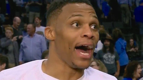 russell westbrook reaction perfect shooting triple double