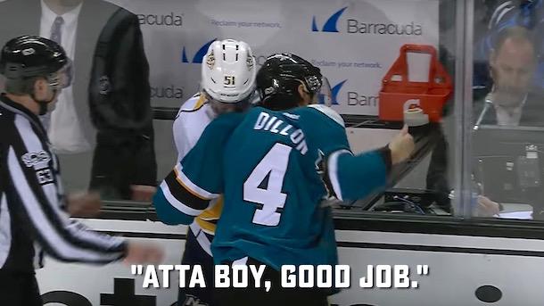 sharks brenden dillon courteous hockey fight
