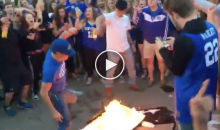 Salty UK Fans Burn TV's, Boo Police & Chant 'F-ck UNC' After Loss To The Tar Heels (VIDEO)