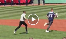 Gronk Steals Tom Brady's Super Bowl Jersey At Red Sox Opener, Brady Has To Tackle Him (Videos)