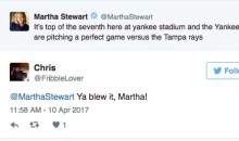 Martha Stewart Jinxed Yankees' Perfect Game on Twitter, and Fans Were NOT Happy (Tweets)