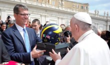 Jim Harbaugh Gave the Pope a Helmet and Some Air Jordans