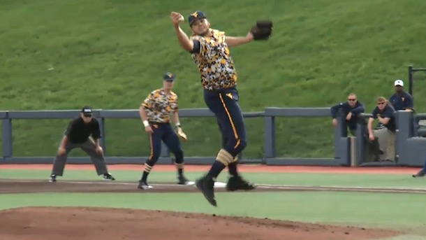 WVU pitcher snags line drive with bare hand double play