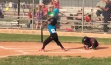 Adorable 7-Year-Old Catcher Just Curls Up Like an Armadillo Instead of Trying to Catch the Ball (Video)