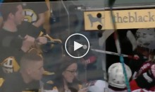 Boston Bruins Fan Tries To Steal Senators Player's Stick, Fails Miserably (VIDEO)