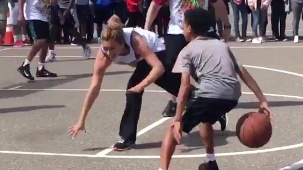 grade school kid elijah johnson breaks teacher's ankles teach-student basketball game