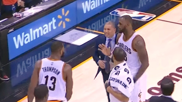 lebron and tristan thompson argue during game