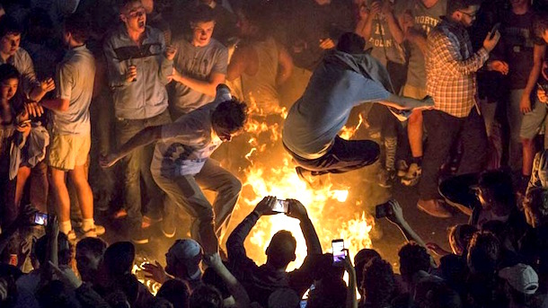 north carolina fans burned by bonfires