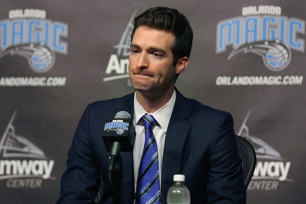 orlando magic fire gm rob hennigan white board photo