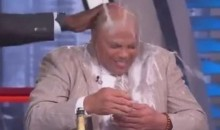 Shaq and Kenny Smith Give Charles Barkley a Champagne Bath for Winning a Sports Emmy (Video)