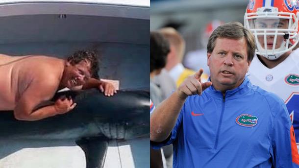 florida gators coach jim mcelwain not naked guy humping shark