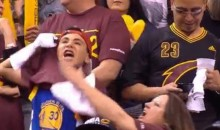 Rascal Kid Lifts Cavaliers Shirt to Reveal Golden State Warriors Jersey Underneath (GIF)