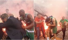 All Hell Broke Loose During The Greek B-Ball League Title Game After Fans Tossed Flares (video)