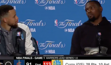 Steph Curry, Kevin Durant Amused By Reporter's Question About Staring Down Rihanna (VIDEO)
