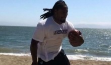 Marshawn Lynch Wore Boots on the Beach for a Very Odd Workout (Video)