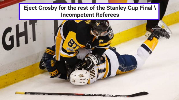 Sidney Crosby involved in water bottle incident during Game 5