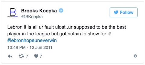 brooks koepka lebrons tweets 2