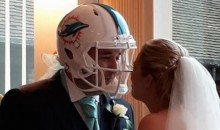Dolphins Fan Wears Dolphins Helmet at Dolphins-Themed Wedding, Has Most Understanding Wife of All Time (Pic)