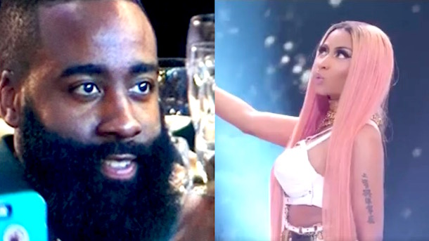 james harden thirsty stare nicki minaj