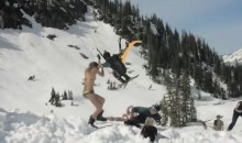 Parachute Skier Nearly Decapitates Bikini Chick at Snowboard Event in Washington (Video)