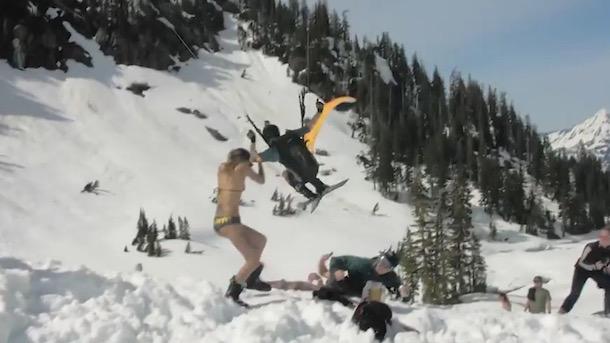 parachute skier nearly decapitates bikini chick
