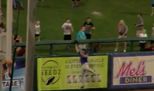 Tim Tebow Makes Amazing Catch While Slamming Full Speed Into A Wall (VIDEO)