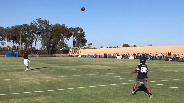 Dez Bryant Plays Catch With A Young Fan