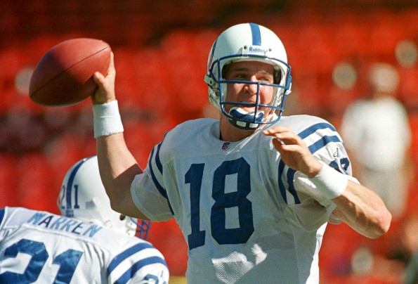 Indianapolis Colts quarterback Peyton Manning thro