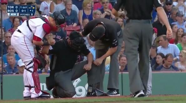 Josh Donaldson Hits Umpire Bat