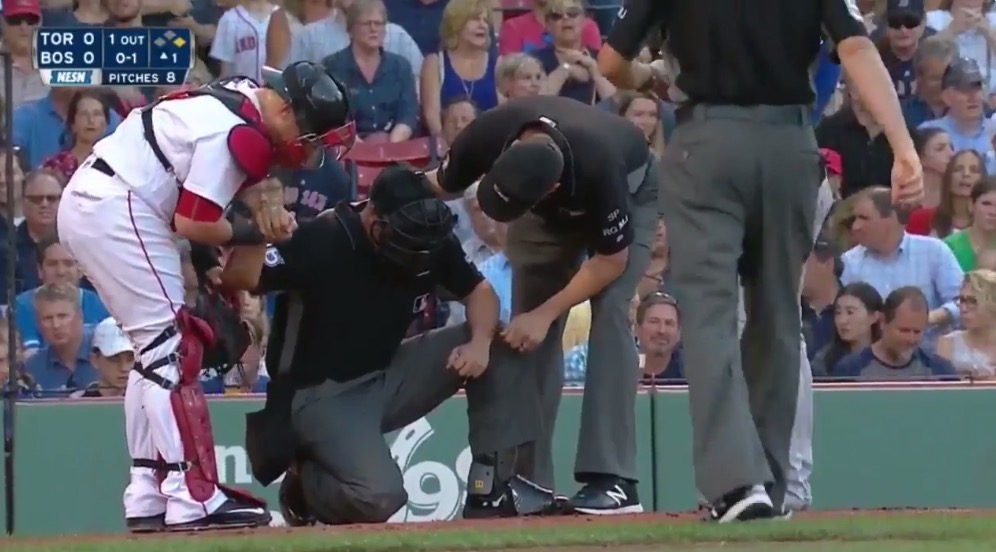 Home Plate Umpire Chris Segal Hit By Josh Donaldson's Bat