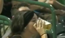 Woman Has No Problem Chugging Her Beer After Foul Ball Lands In It (Video)