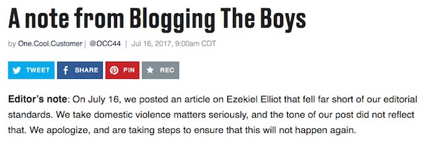 blogging the boys statement ezekiel elliott post