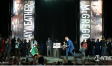 Mayweather Takes Ireland Flag, So McGregor Takes His Bag Full Of Money & Threatens To Throw It (VIDEO)