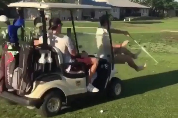 Latest Golf Trend: Running Each Other Over with Golf Carts | Total on golf buddy customer service, golf baby cart, golf buddy accessories, golf buddy support,