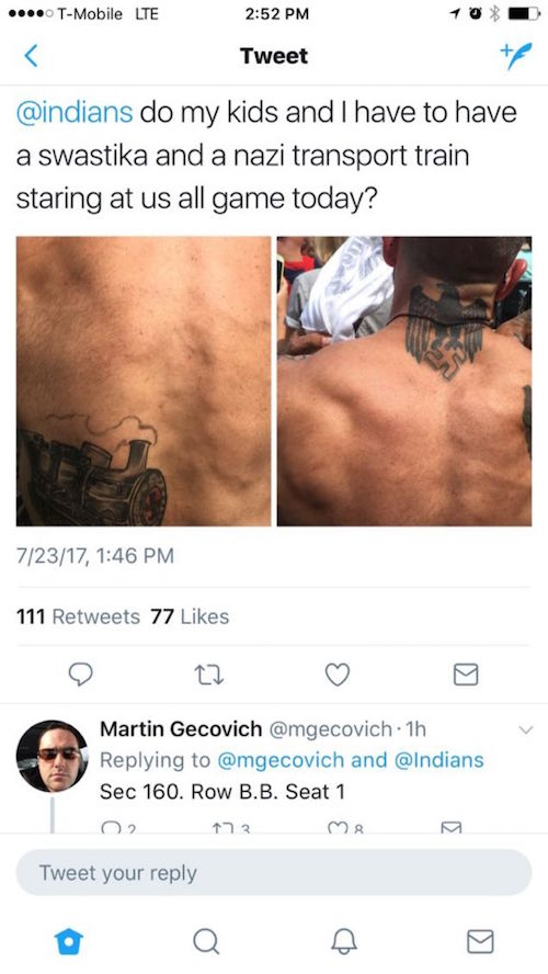 nazi tattoo at indians game