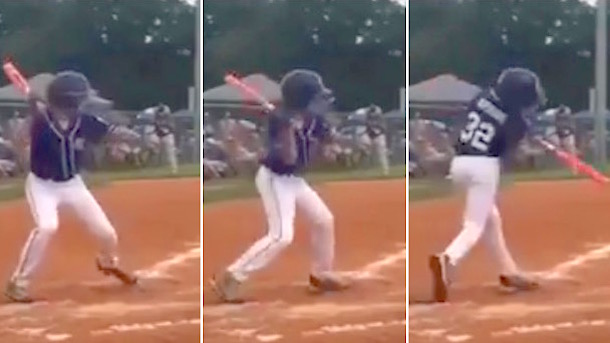 one-handed 11-year-old little leaguer smashes epic home run