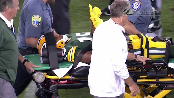 Malachi Dupree stretchered off field after brutal hit