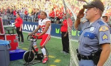 Chiefs' Marcus Peters Rides Stationary Bike While Everyone Stands For Anthem