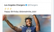 Los Angeles Chargers Wish Rookie Mike Williams Happy B-Day Today; His B-Day is Two Months Away