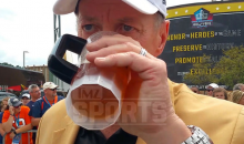 Jim Kelly Chugs Fan's Beer At Pro Football Hall of Fame (VIDEO)
