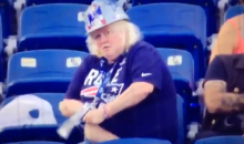 Female Patriots Fan Pulls A Distraught Water Bottle From Her Chest Area During Game (VIDEO)
